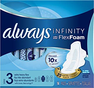 Always Infinity Size 3 Feminine Pads with Wings, Extra Heavy Flow Absorbency, Unscented,