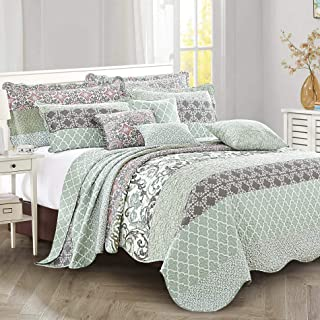"Home Soft Things Royal Scroll Bedspread 122"" x 106"" Teal"