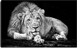 Canvas Wall Art-Black and White Rest of Lion Painting Picture Animal Portrait Artwork Stretching Ready to Hang for Living Room Bedroom Home Decorations (Black and White Lion)