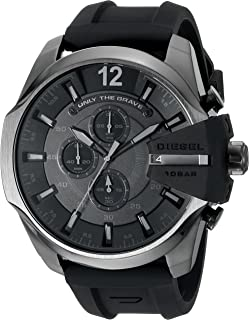 Diesel Men's Mega Chief Quartz Stainless Steel and Silcone Chronograph Watch, Color: Grey, Black (Model: DZ4378)