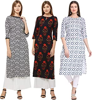 GoSriKi Women's Straight Kurta Combo Pack Of 03 (KURTI-COMBO-PACK-3-003-L_Multi L)