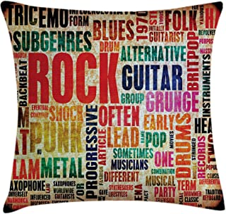 Ambesonne Music Throw Pillow Cushion Cover, Retro Rock Roll Lettering Grunge Distressed Colors Back Then Sound Music Theme, Decorative Square Accent Pillow Case, 18
