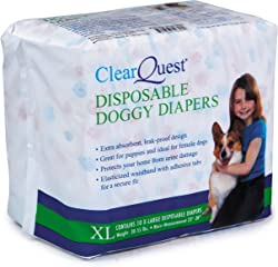 ClearQuest Disposable Doggy Diapers, 10-Count, Leakproof, Super Absorbent