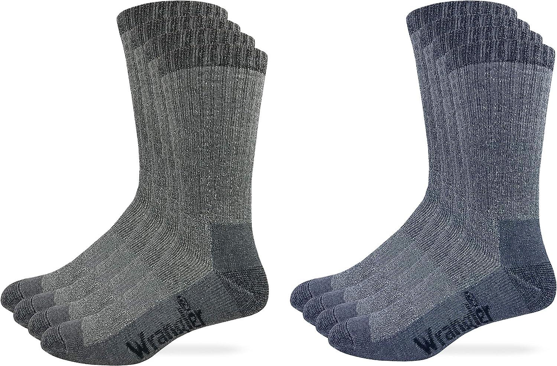 Wrangler Mens Riggs Workwear Merino Wool Blend Full Cushion Mid Calf Boot Socks 4 Pair Pack