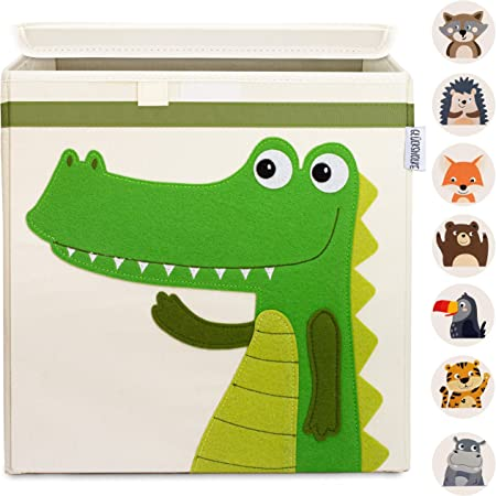 GLÜCKSWOLKE Boite de Rangement Enfant - 15 Motifs I Coffre à Jouet I Caisse Cube (33x33x33) I Bac à Jouets avec Couvercle - Chambre Bebe I Panier à Jeux I Boîte de Rangement Jungle Animal (Crocodile)