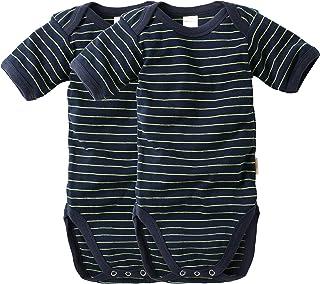 wellyou Baby und Kinder Doppelpack kurzarmbody/Baby-Body Junge aus 100% Baumwolle, Kurzarm 2er Set in Marine Neongelb gr 50-134