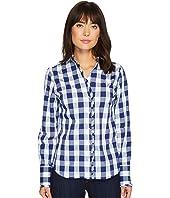 U.S. POLO ASSN. - Long Sleeve Stretch Poplin Ruffled Edge Shirt