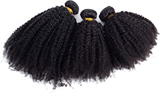 9A Afro Kinky Curly Hair Brazilian Curly Hair Bundles 100% Unprocessed Virgin 4B 4C Hair Bundles Afro Kinky Curly Human Hair Extensions Natural Black Color (10