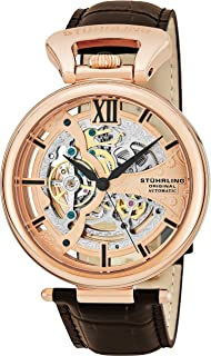 Stuhrling Men's Rose Gold Dial Leather Band Watch - 627.03
