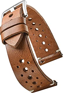 Hand Made Genuine Vintage Full Grain Leather Watch Strap with Quick Release Spring Bars - Black, Bown, Tan - 20mm, 22mm, 24mm