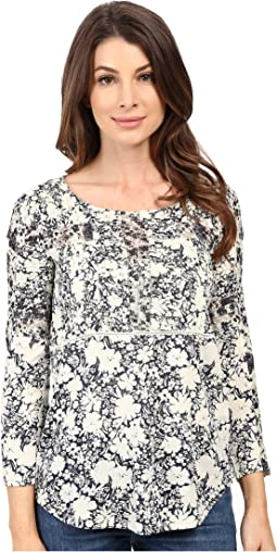 Printed Mixed Trim Top