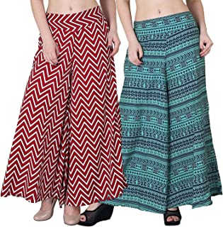Fablab Women's/Girl's Printed Crepe A-Line wide leg divider Palazzo Trousers with Pocket & Inner Lining Combo Pack of 2(FLPLCRP2-12,Red ZigZag,Green Print,Size-XL)