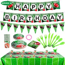 Napkins Include Banner Tablecover Plates Flatware Set Cups Touch Town Tableware Accessory Decorations FiGoal Football Theme Party Supplies and Party Decorations for 16 Guests