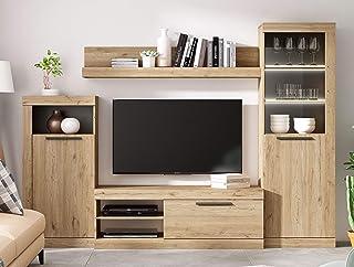 Fabrikit Mueble de TV Salon Comedor Rustik Modular Estilo Moderno Color Naturale y Pizarra 258X186X42 cm: Amazon.es: Hogar