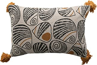 Bloomingville Black and Mustard Recycled Cotton Blend Printed Lumbar Tassels Pillow