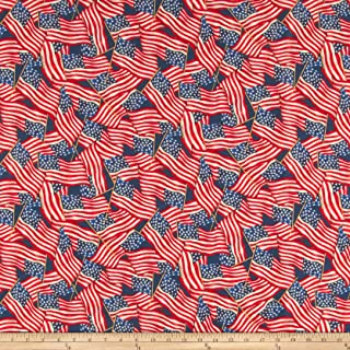 Springs Creative Products Susan Winget Patriotic Flag Toss Digital Woven Fabric, Blue, Fabric By The Yard