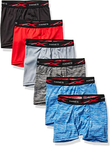 Hanes Boys' Breathable Tagless Boxer Brief, 6-Pack