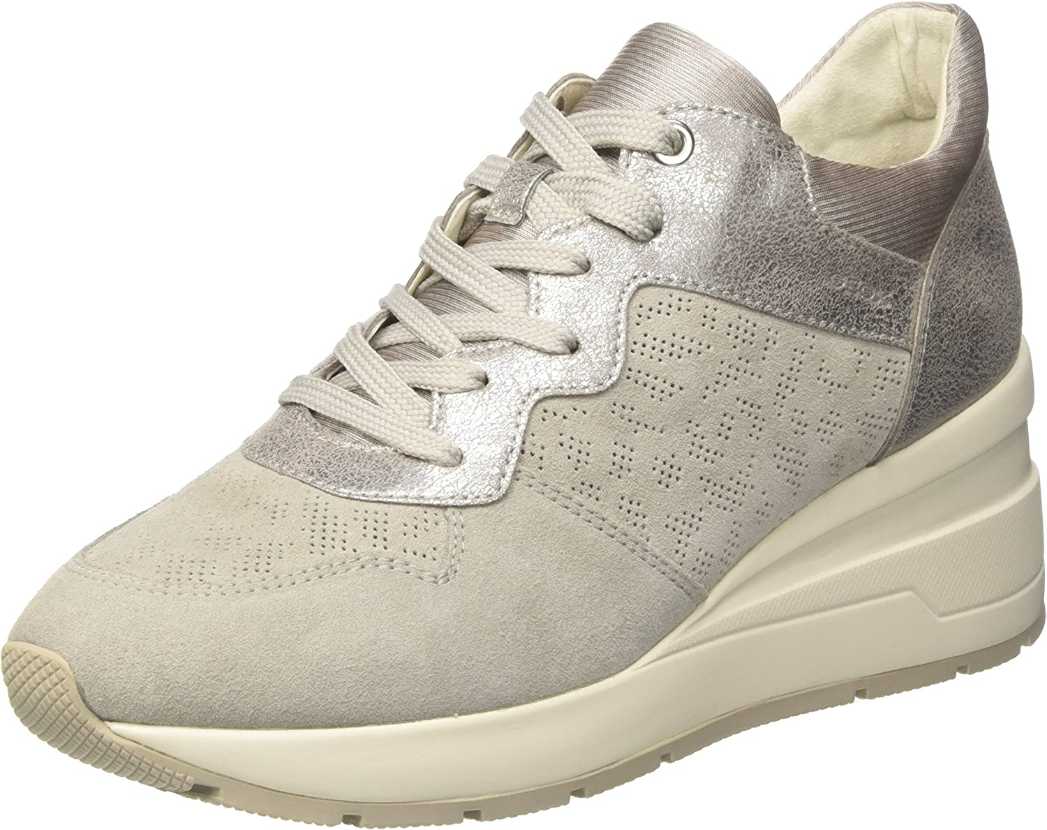 Geox Women's D Zosma C Trainers, Ivory (Off-White), 4