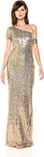 Badgley Mischka Women's Asymmetrical Sleeve Sequin Gown