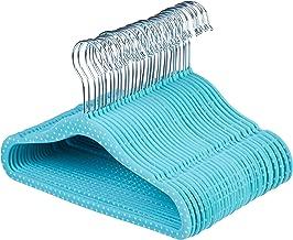 AmazonBasics Kids Velvet Hangers - 30-Pack, Blue Polka Dot