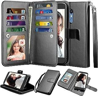 Njjex LG K10 2018/ LG K30 Wallet Case, LG Premier Pro LTE/Xpression Plus/K30 Plus/Harmony 2/LG Phoenix Plus Case, PU Leather [9 Card Slots] ID Credit Kickstand Detachable Magnetic Flip Cover - Black
