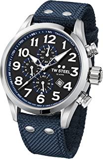fd325db0fc TW Steel Men's Volante Stainless Steel Japanese-Quartz Watch with Nylon  Strap, Blue,