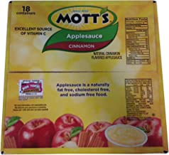 Motts Cinnamon Applesauce, Pack of 18 -4.0 oz Containers