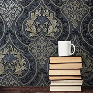 charcoal damask wallpaper