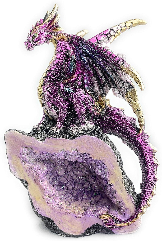 Aint It Nice Dragon Statue Purple Rock Faux Geode Cavern Sparkling Collectible Fantasy Dragon Figurine Statue Décor, 5.5 X 3.5 X 2.5 inches