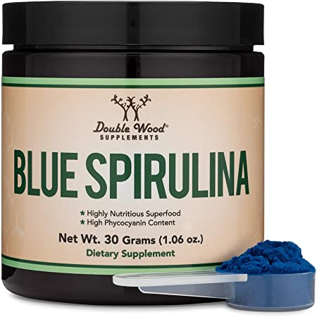 Blue Spirulina Powder - Maximum 35% Phycocyanin Content, Superfood from Blue-Green Algae, Mixes into Smoothies and Protein Drinks, Natural Food Coloring (One Month Supply) by Double Wood Supplements