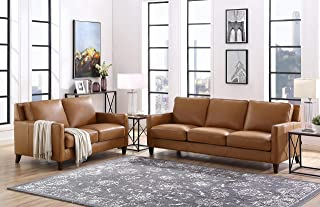 Hydeline Ashby 100% Leather Sofa Set (Sofa, Loveseat, Cognac)