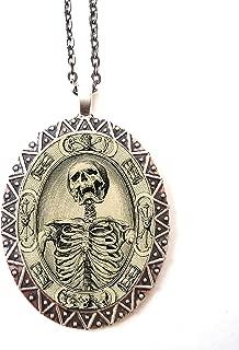 Memento Mori Necklace Pendant Silver Tone Goth Gothic Skull Skeleton Dark Art