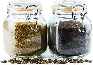 Galashield Glass Jars with Airtight Lids Leak Proof Rubber Gasket (Set of 2-33 oz)