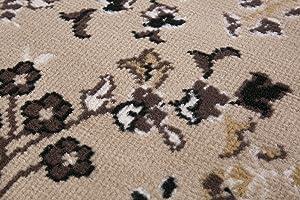 andiamo Klassicher Orientteppich Perserteppich Orientalisches Muster Webteppich Kurzflor Alfombra, Polipropileno, Beige, 120 cm (Redondo)
