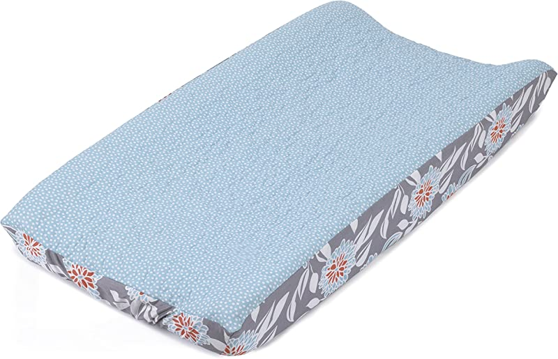 Balboa Baby Quilted Changing Pad Cover Aqua White Dot