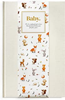 Baby Isobella - Baby First 5 Years Memory Book & Baby Journal Linen hardcover First Year Keepsake Milestone Newborn Journa...