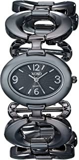 XOXO Women's XO5207 Black Dial Gun Metal Open Link Bracelet Watch