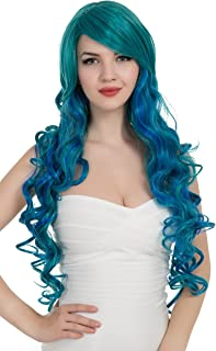 PINKISS Fashion Colorful Harajuku Lotita Style Cosplay Wig with Free Wig Cap (LC121 DS / T4535BD Turquoise Blue)