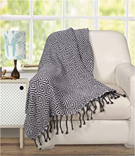 Ramanta Home 100% Pure Cotton Diamond Blanket Throw with Knotted Fringes for Chair, Couch, Picnic, Camping, Beach, Everyday Use - Super Soft and Excellent Handfeel - 50 x 60 inches, Charcoal