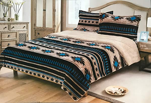Nu Trendz Signature Southwest Design Navajo Print King Size 3pcs Set 17426 Light Brown Turquoise