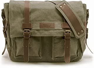 Sweetbriar Classic Laptop Messenger Bag, Olive Drab - Canvas Pack Designed to Protect Laptops up to 15.6 Inches