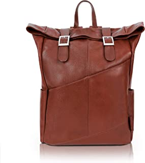 """McKlein, S Series, Kennedy, Pebble Grain Calfskin Leather, 17"""" Leather Dual Access Laptop Backpack, Brown (88734)"""