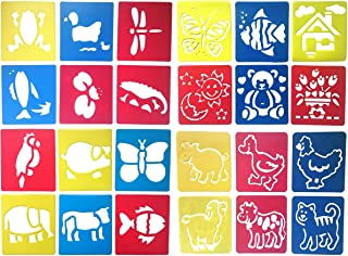 24 Pcs Drawing Painting Stencil Templates Set for Kids Crafts Creation, Graphics and Animal Education, Different Animal Patterns, Washable Plastic