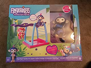 WowWee Fingerlings Playset - Monkey bar/Swing Playground with 1 Fingerlings Baby Monkey Toy - Naïma (Navy Blue Glitter)