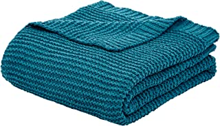 AmazonBasics Knitted Chenille Throw Blanket - 60 x 80 Inches, Teal