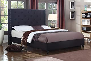 Best Master Furniture YY129 Vero Tufted Wingback Platform Bed, Cal King Black