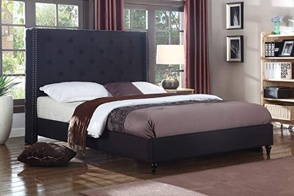 Best Master Furniture YY129 Vero Tufted Wingback Platform Bed King Black