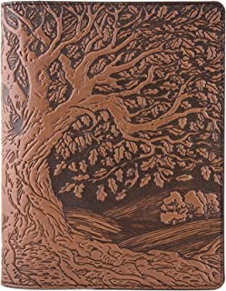 Genuine Leather Composition Notebook Cover with Insert, 8.25x10.25 Inches, Tree of Life, Saddle Color, Benchcrafted in the USA by Oberon Design