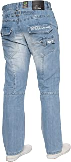 Enzo BNWT New Mens Jeans Blue Designer Branded Straight Washed All Waist & Sizes