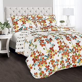 Lush Decor Weeping Flower 3 Piece Quilt Set, King, Turquoise & Tangerine